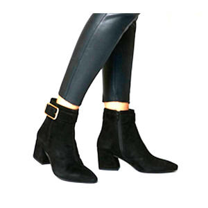 Vagabond Black Leather Suede Ankle Booties